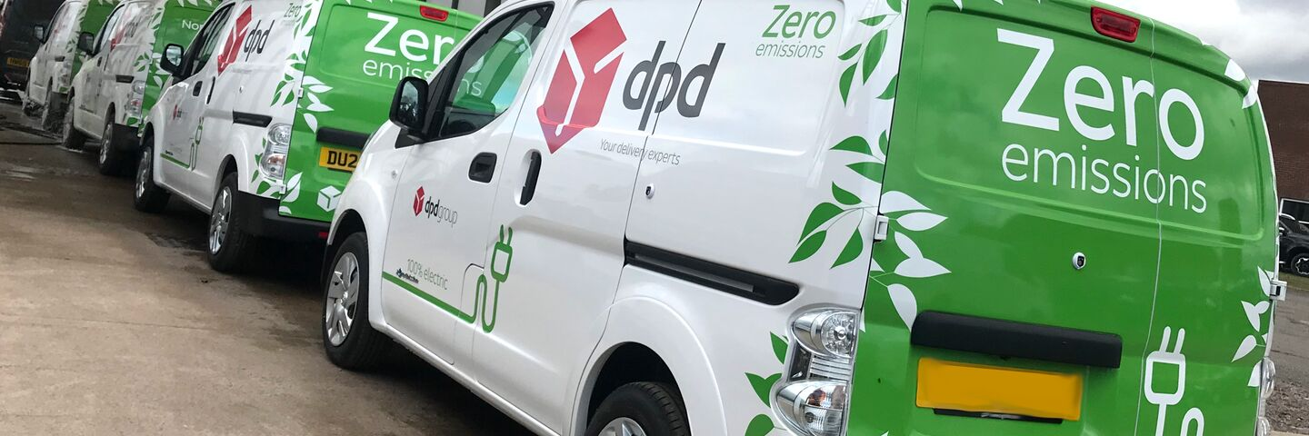 DPD green vans zero carbon emissions fleet line up