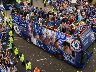Chelsea Football Club Champions tour bus wrap