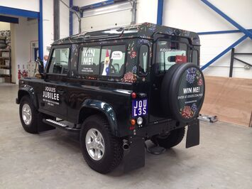 Special vehicle wrap on Landrover Defender for Joules clothing retailer competition