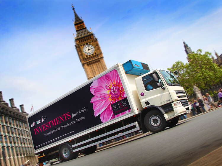 Targeted messaging for M&S Money campaign using vehicle banner system