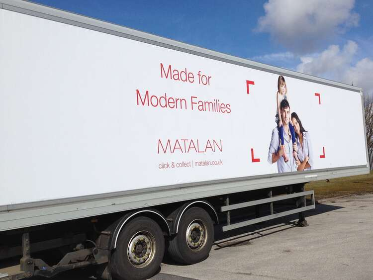 Traxx vehicle advertising system used for Matalan truck campaign