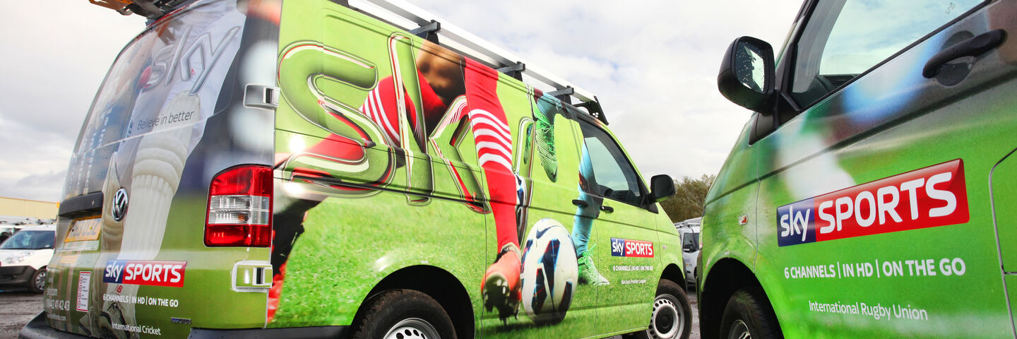 Full wrapped vans for Sky in Sky Sports vehicle branding design