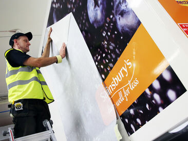 Installing van wrap to Sainsbury's Home Delivery fleet vehicle