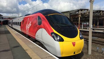 Corporate train livery for Virgin Trains Hitachi rolling stock
