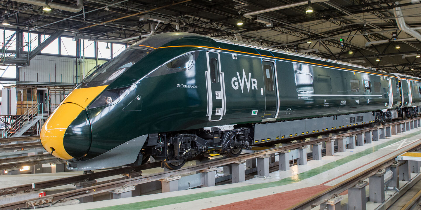 Fully wrapped new Hitachi train in GWR dark green livery