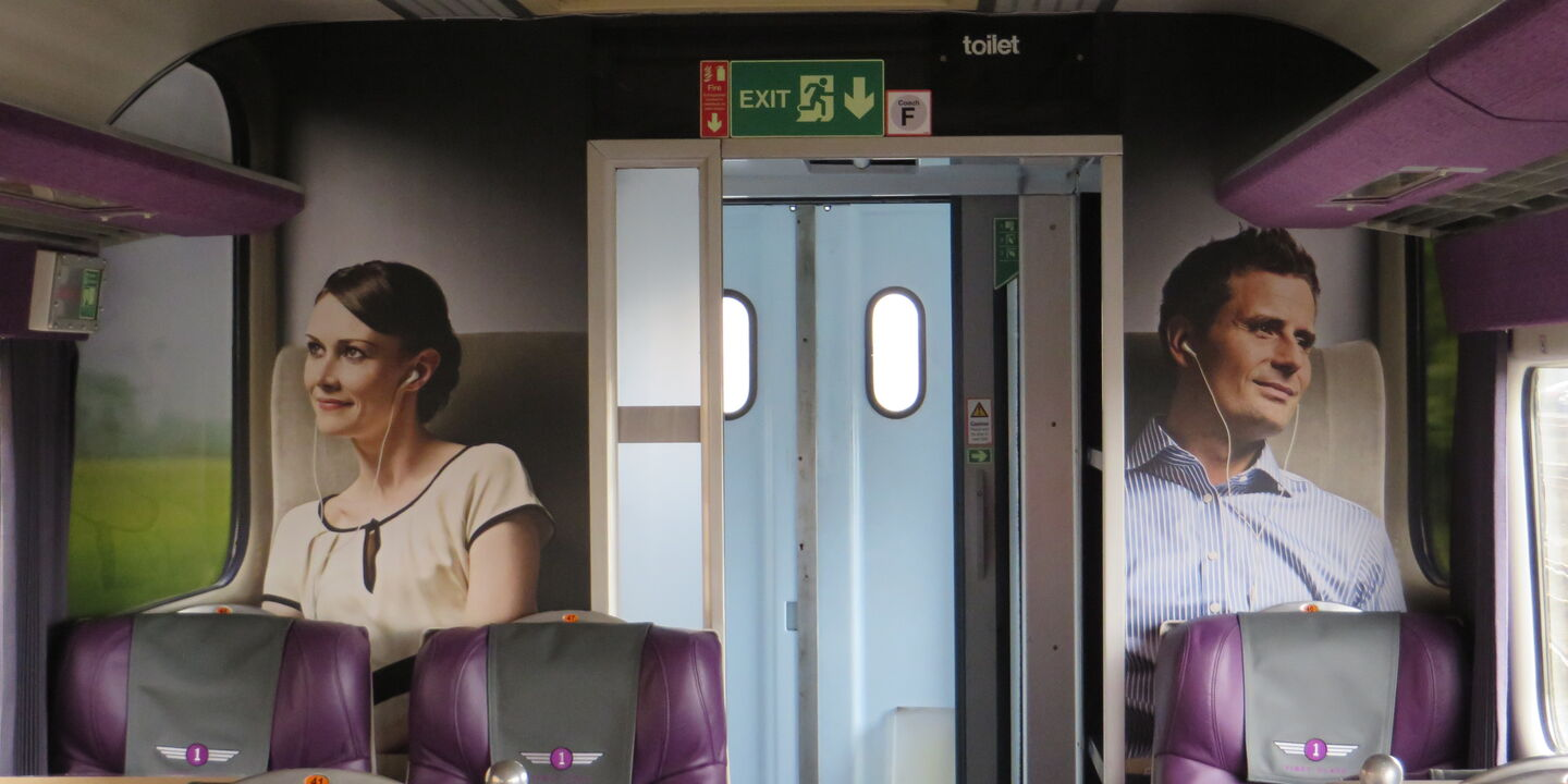 Hard-wearing printed laminate graphics inside Grand Central trains carriage