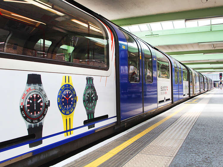 Graphic wrap on Tube for Swatch watch advertising campaign