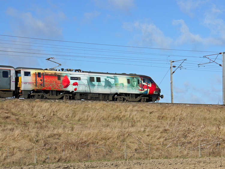"Special remembrance poppy train wrap ""For the Fallen"" on East Coast train"