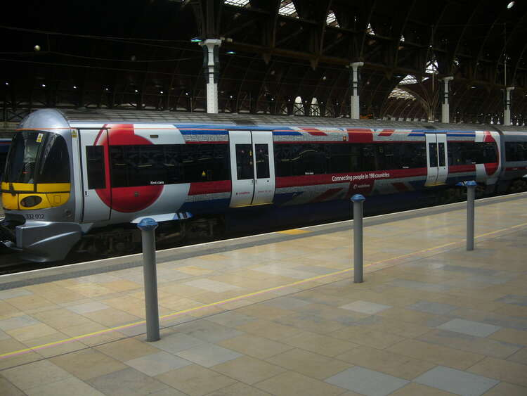 Promotional train wrap for Vodafone on Heathrow Express