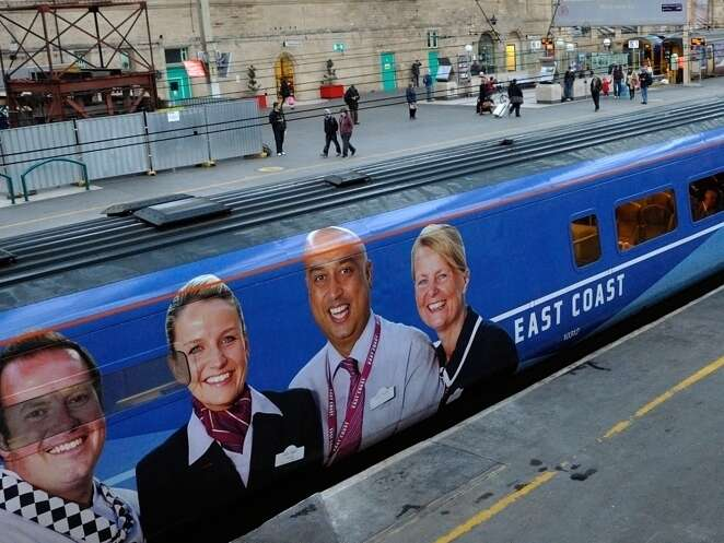 East Coast staff photographs implemented on the side of their train