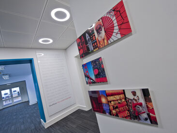 Interior branding using high quality printed display panels