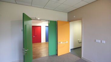 Care home door refurbishment using coloured 3M DiNoc film solutions
