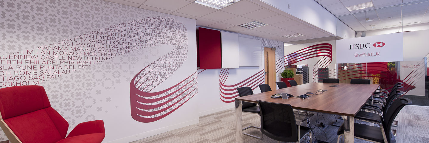 HSBC workplace interiors branding using printed wall wraps and cut window films on glass