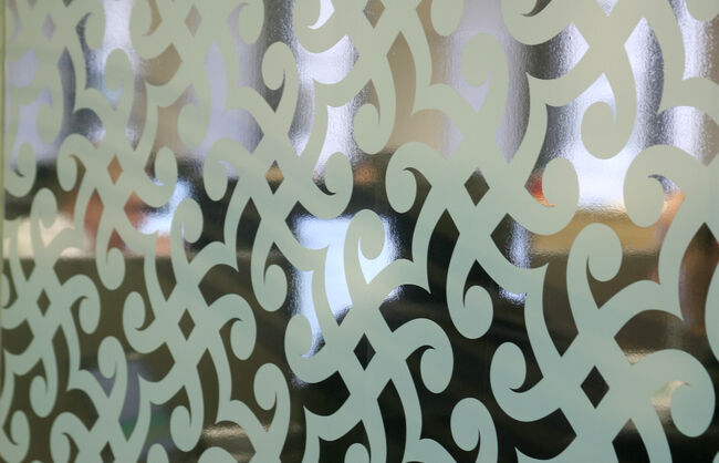 White print to clear film for patterned window graphics