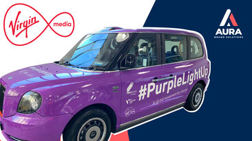 Virgin Media purple london taxi wrap youtube thumbnail
