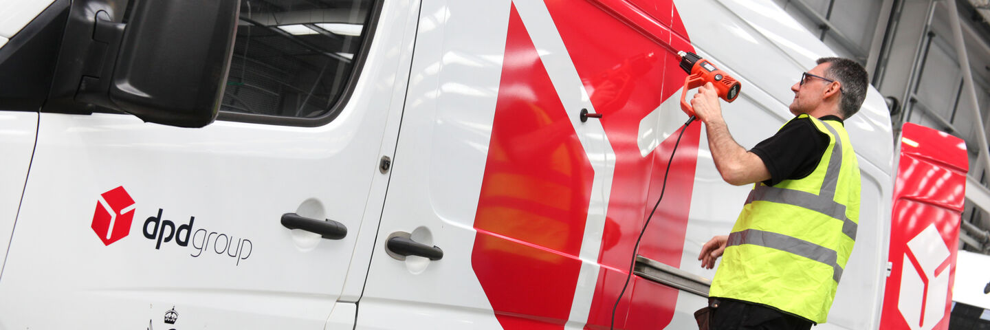 Expert vehicle wrapping installation for van livery on DPD fleet