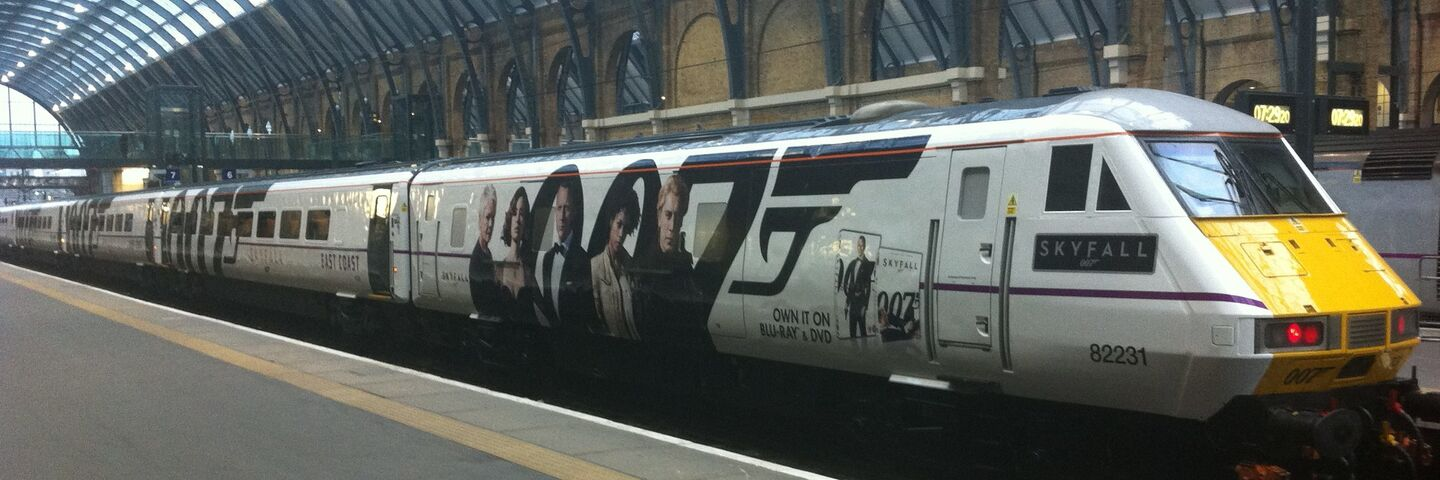 East Coast Mainline graphics train wrap in James Bond livery