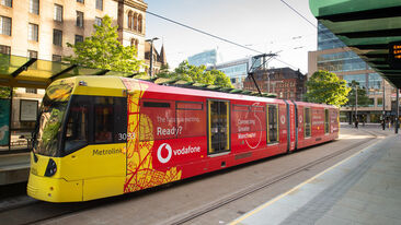 Vodafone tram wrap in use
