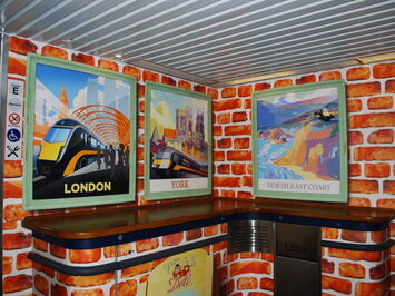 AuraFlex Printed Laminate used to decorate and brand Grand Central Trains Buffet Car
