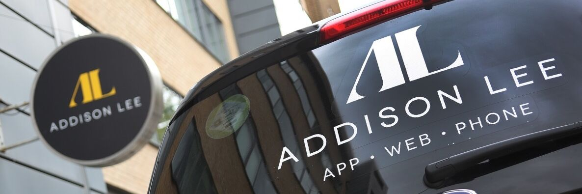Specialist vehicle window graphics and identity signage for Addison Lee rebrand