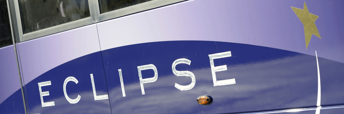Specially printed gradient graphic for Eclipse bus livery