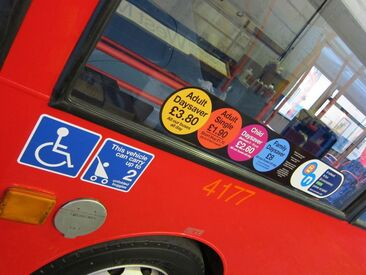 Bus labels for safety, legal requirements and passenger information
