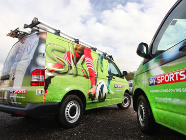 High quality printed wraps on Sky vans