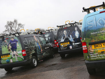 Multiple full wrap designs for Sky branded van livery