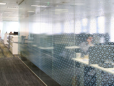 HSBC Glass Manifestation using geometric pattern printed to clear film in white ink