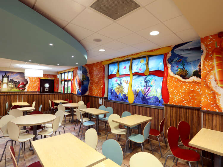 Interior graphics used to brand Alton Tower Burger Kitchen restaurant