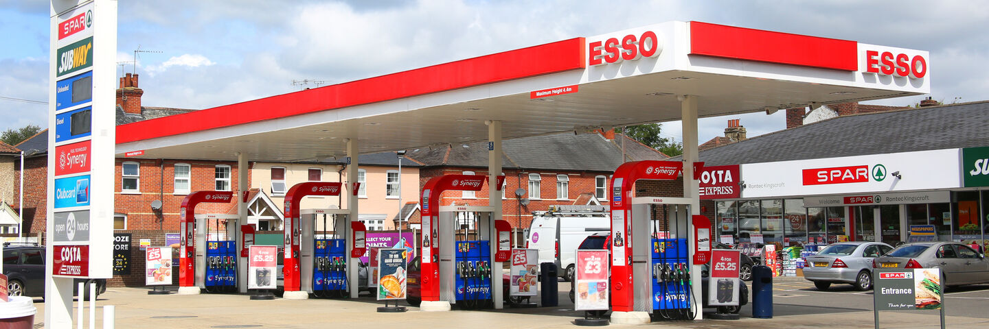 Specialist petrol pump graphics and labels for Esso Synergy Fuel rebrand