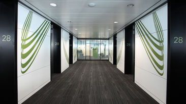 HSBC wall graphics hallway offices