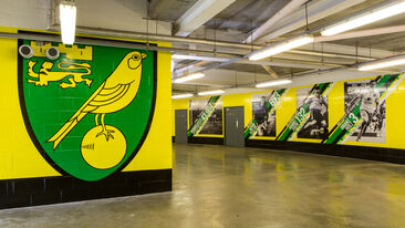 large scale stadium install wall wraps Norwich City FC