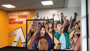 Auraflex colourful printed laminates used to decorate walls in youth centre interior rebrand