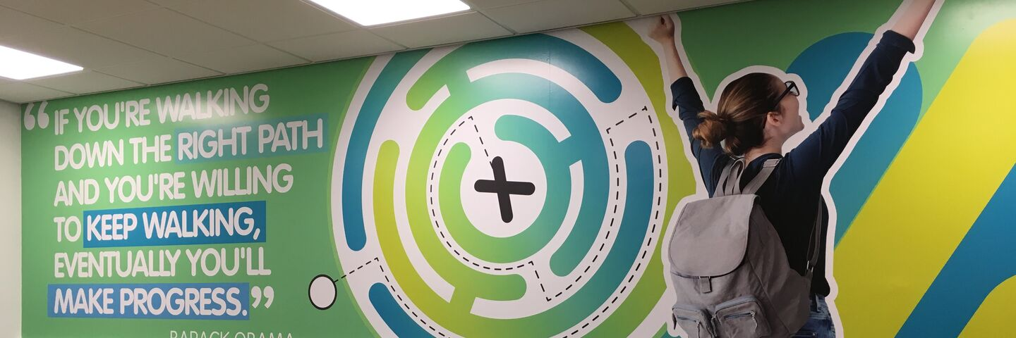 Auraflex durable printed laminates used to decorate walls in youth centre interior rebrand