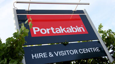 External sign outside Portakabin hire and visitor centre
