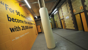 Printed graphics using special textured wall film for brick walls at Wolves FC stadium