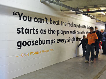 Wall graphics on brick wall to brand Wolves football stadium featuring quotes from fans about their match day experiences