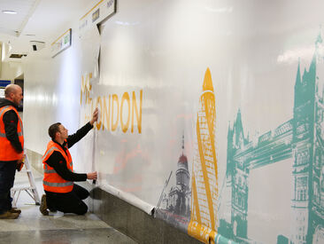 Installation of high quality interior wall wrap graphics for Victoria Coach Station